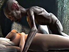 Gollum fucks blonde girl inside a cave