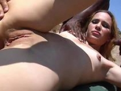Slender babe likes to fuck outdoors