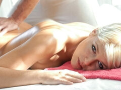 Exciting oiled blonde Sweet Cat fucks for free with a horny masseur
