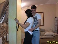 Cheating gf fucks a stranger in front of bf
