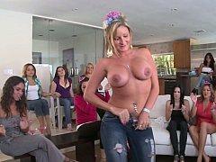 Seductive female stripping elegantly to flaunt