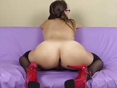 Newbie naked kitten in pigtails stocking and glasses gives yo