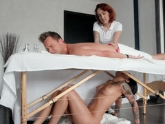 Ebony chiropractor is an incredibly horny bitch penetrated by man