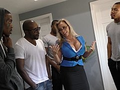 Nerdy blonde and moreover lots of black guys