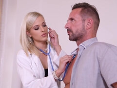 Blonde euro doctor Ria Sunn ass fucked by her patient - medical fetish