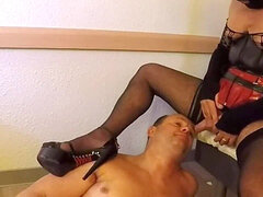 Human restroom marionette swallow mistress piss