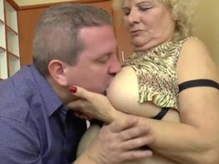 BBW blonde granny fucks hard in the kitchen