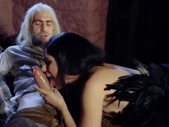 Dark haired gal with big tits riding an old man