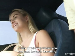 Beautiful blonde angel gets nicely fucked by a lucky driver
