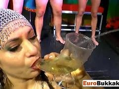 European slut gets pussy and throat abused during bukkake sex party
