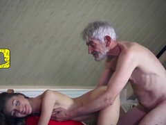 Diminutive Thin Nubile Services elderly Dude and Loves being Gobbled [HD]