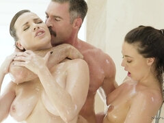 Horny brunettes Dana Dearmond, Whitney Wright - erotic threesome with cumshot