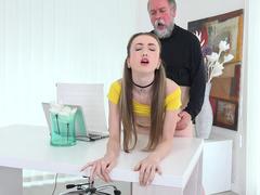 Teen beauty satisfies her desires for grandpa cock