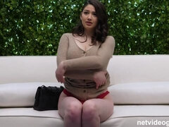 Three slutty interracial girls are enjoying his huge sausage on the casting