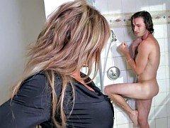 Slutty Cougar Surprises Daughters Boyfriend in Shower