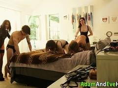 Mistress spunked in group