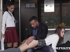 Schoolgirls Apolonia and Zoe Doll Are Punished With a Threeway