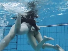 A duo hot lesbians in the pool loving eachother
