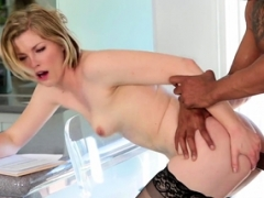 18-19 year old wench bounces on sizeable black cock groaning with enjoyment