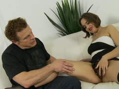 A fat girl is getting ejaculation on her hirsute pussy lips