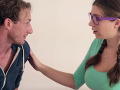 A nerdy hoe with pigtails has sex with handsome man