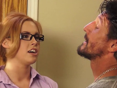 A kitten with red hair and furthermore glasses demonstrates how she gives bj