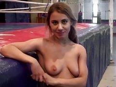 European dykes admire wrestling on the floor