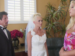 Immature bride and the wedding planner worship sizeable purple pole together
