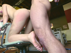 Blonde that loves to party is fucked in an office chair deeply