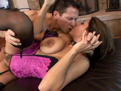 A aroused housewife is getting her pussy rammed by her lover