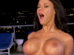 A bigtitted woman gets rubbed and plus fucked in the pool on the roof