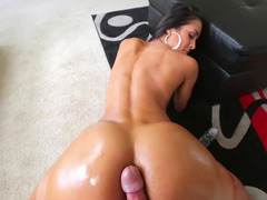 Boobalicious Latina with big tits is getting ejaculation in her cum bucket