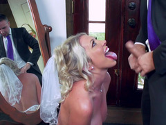 A blonde that has a drenched ass is getting penetrated by a dude