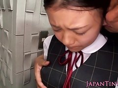 Japanese petite boob and plus facefucked by lad