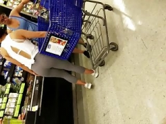 Hot 18-19 year old in supermarket in spandex