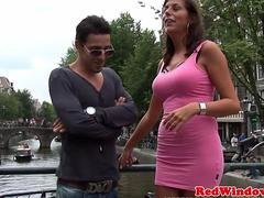 Breasty amsterdam hooker in threeway giving head