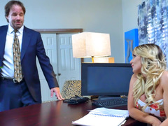 Adorable office bitch gets rammed by her handsome boss so hard