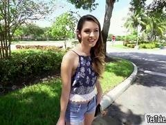 Innocent looking legal teen Rayna Rose flashes breasts in public