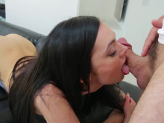 Hot female with a sexy ass is licking a dick on the sofa