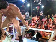 Group of insane and sexy females are getting fucked by a horny stripper