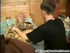 Young and fresh boy gets down and dirty her sleeping russan aged mother