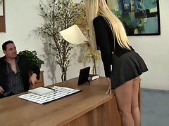 Lucky manager licking his eager mom boss in the office