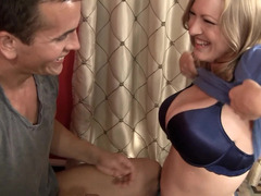 Excited eager mom is doing a striptease so she could have some sex