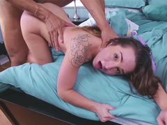 Adorable 18-19 y.o. Bambi Brooks banged by a brawny dude