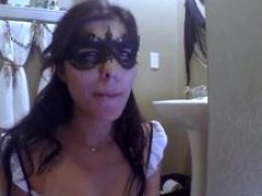 A kinky kitten wearing a mask gets to gobble a sizeable cum cannon of her step father in pov