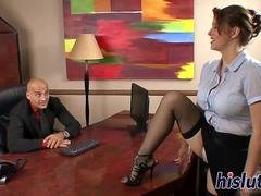 Bigtitted secretary bounces on a big rod