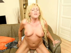 Excited cougar is placing her hand alsos on a cock to caress and also tease it