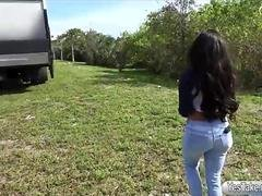 Massive boobs chick gets screwed in public for some money