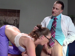 A doctor gets a blow job from his hot doctor colleague