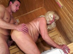 Dirty mature blonde is getting fucked hard in the sauna today